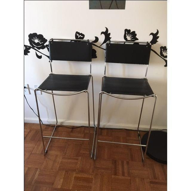 Italian Leather & Chrome Counter Stools - A Pair - Image 2 of 6
