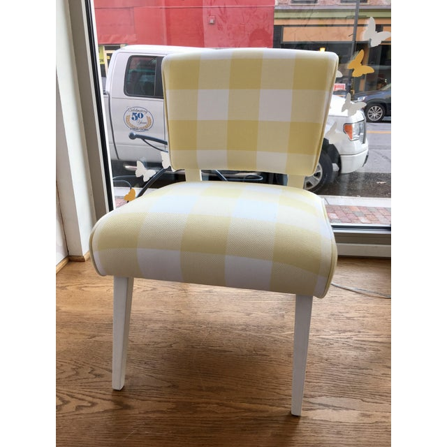 Mid-Century Yellow & White Gingham Chair - Image 5 of 6