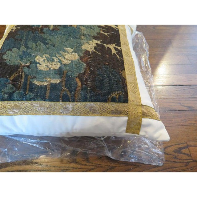 French 18th Century Verdure Tapestry Pillow For Sale - Image 3 of 8
