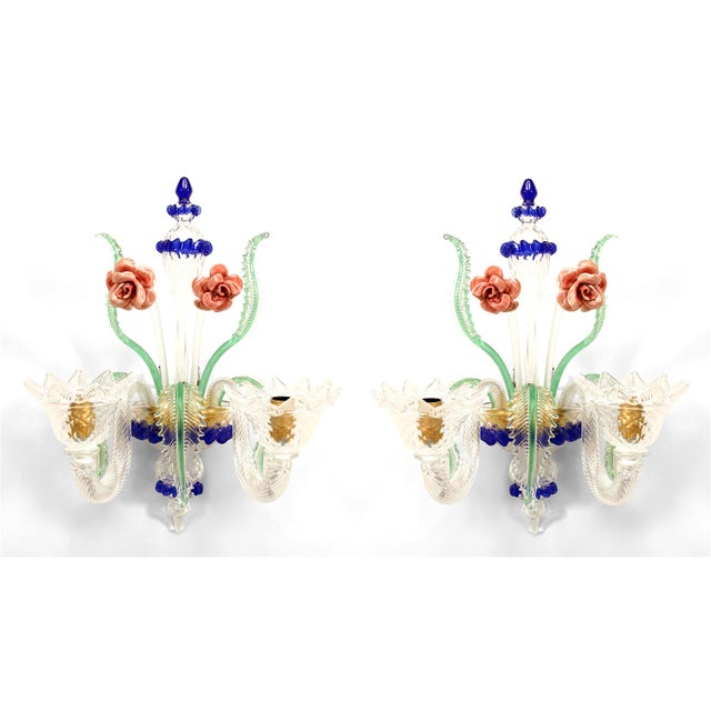 Italian Italian Murano Colored Glass Wall Sconces - a Pair For Sale - Image 3 of 3