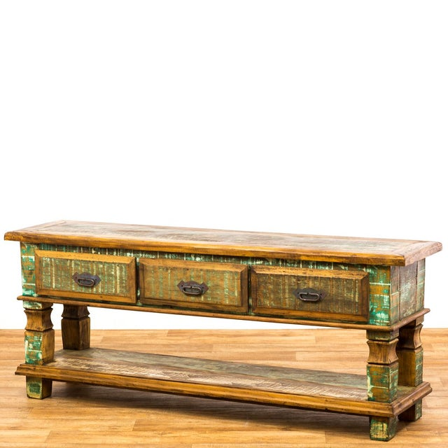 Reclaimed Wood Console Table For Sale - Image 4 of 8