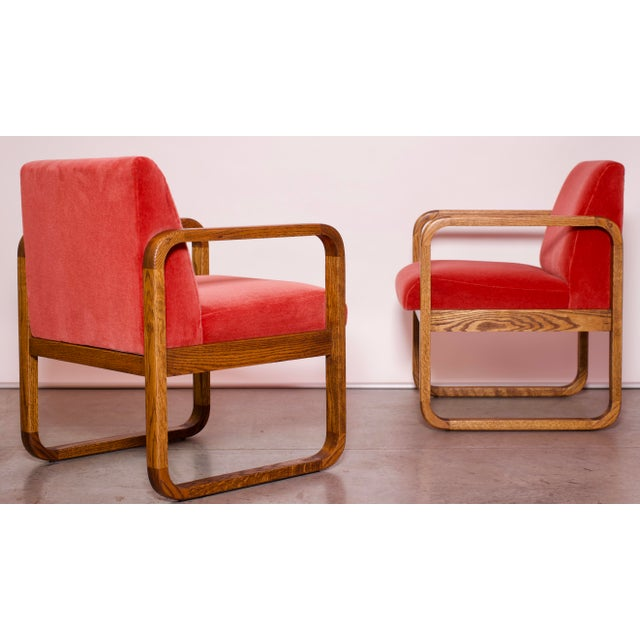 1970s Mid-Century Modern Crimson Mohair Accent Chairs - a Pair For Sale - Image 9 of 13