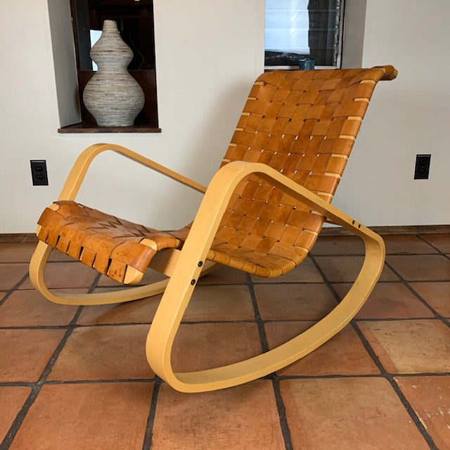 Tan 1950s Wood and Leather Dwr Dondola Rocker For Sale - Image 8 of 8