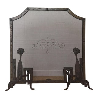 Antique Forged Iron and Hammered Brass Fireplace Screen With Andirons - Set of 3 For Sale