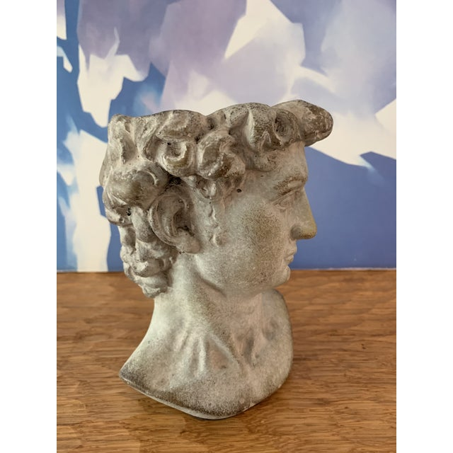 Modern Cast Composite Concrete Stone Face Planter Head Vessel Vase This great planter takes cues from Fornasetti, cast...