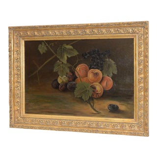Late 19th Century Fruit Table Still Life Oil Painting For Sale