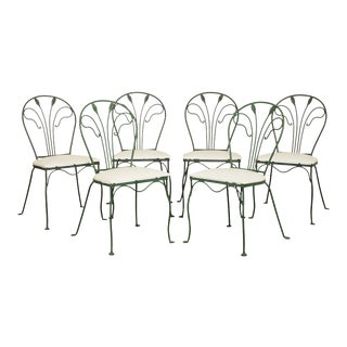 Salterini Vintage Set 6 Wrought Iron Garden or Patio Dining Chairs For Sale