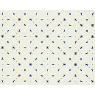 Hinson for the House of Scalamandre Trixie Wallpaper in Blue & Gold on White For Sale