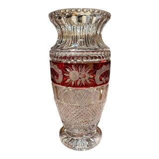 Mid-Century French Cut Glass Vase With Red Floral Motifs Saint Louis Style For Sale