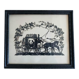 1920's Carriage Silhouette, Signed and Dated
