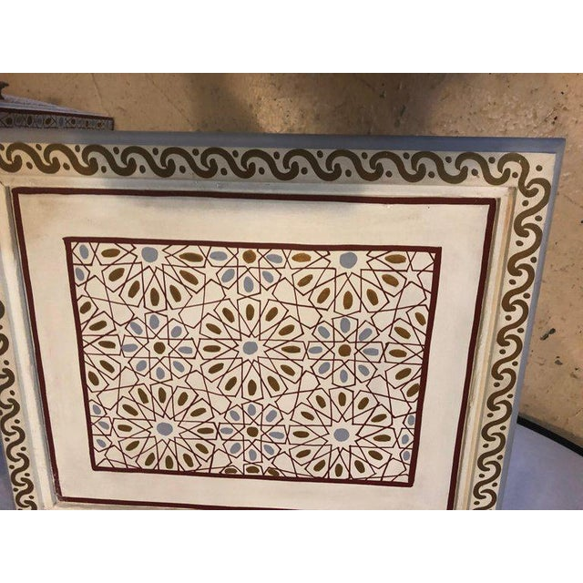 Moorish Style White Blue-Gray and Burgundy Night Stands - a Pair For Sale In New York - Image 6 of 12