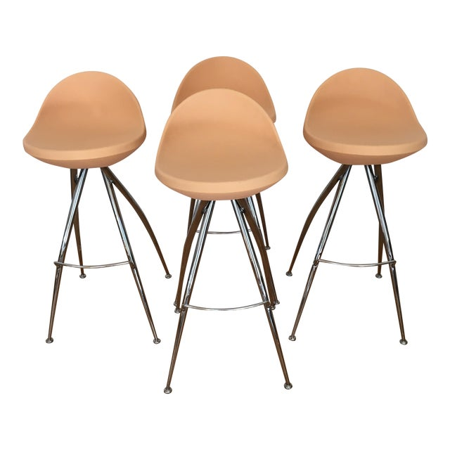 Roberto Foschia Italian Midj Bar Stools - Set of 4 For Sale