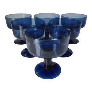 6 Mid-Century Cobalt Glass Coupes For Sale