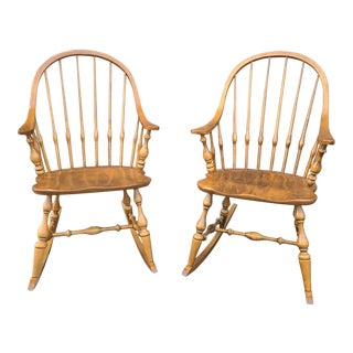Ethan Allen Circa 1776 Solid Maple Bowback Windsor Rocking Chairs - a Pair For Sale
