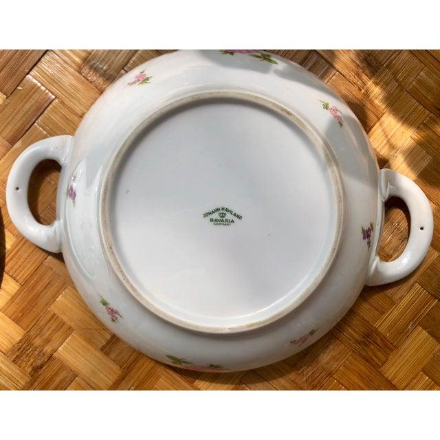 """Green Haviland """"Rose Chintz"""" Gilt Floral Porcelain Vegetable Tureen For Sale - Image 8 of 12"""