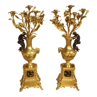 Antique French Bronze Dore Candleabras-Victor Paillard 1805-1886 - a Pair For Sale