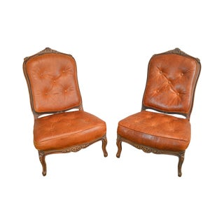 French Louis XV Style Pair of Wide Seat High Back Tufted Leather Slipper Chairs