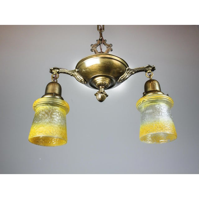 Antique Pan Fixture with Original Shades (2-Light) - Image 5 of 9