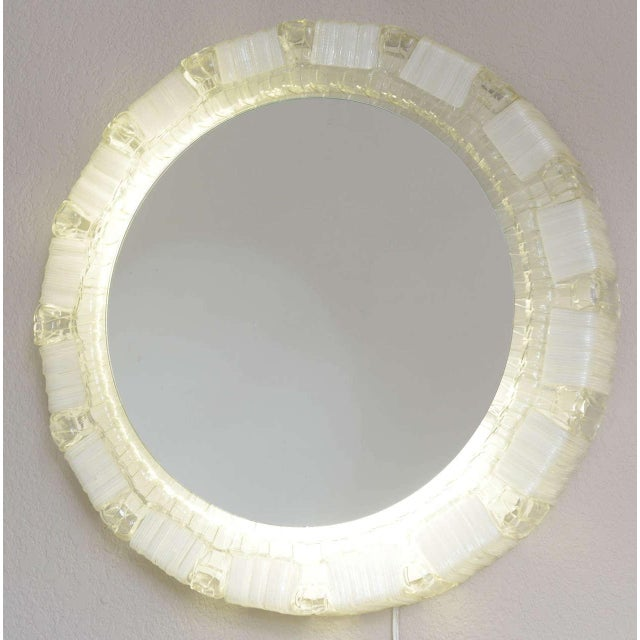 White 1970s Clear and White Resin Backlit Mirrors For Sale - Image 8 of 10