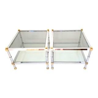 1970s Maison Jansen Chrome & Brass End Tables - a Pair For Sale