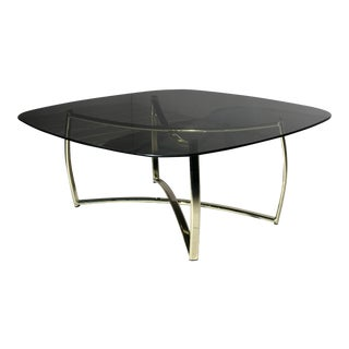 1970s Mid-Century Italian Brass and Smoked Glass Coffee Table For Sale