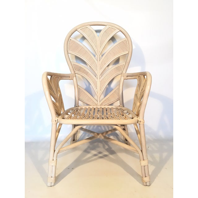 Mid Century Rattan Palm Tree Back Chair - 10 Available For Sale - Image 4 of 12
