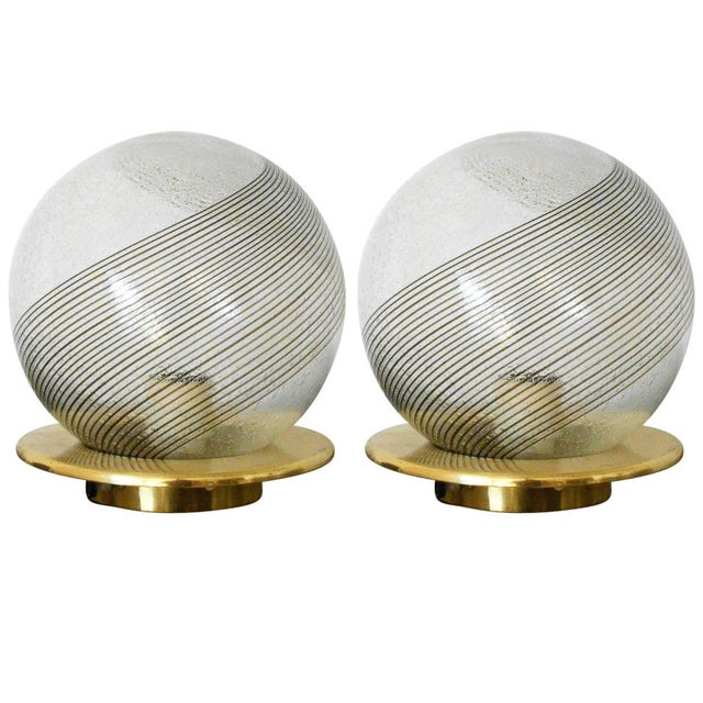 1960s Italian Swirl Lamps by Venini - a Pair For Sale - Image 5 of 5