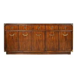 American Midcentury Campaign Style Accolade Credenza by Drexel For Sale