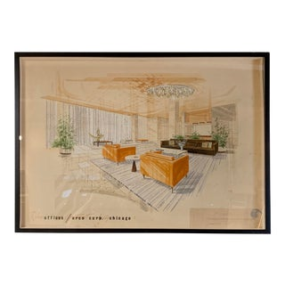 1950s Original William Simmons Hand-Painted Watercolor Rendering For Sale