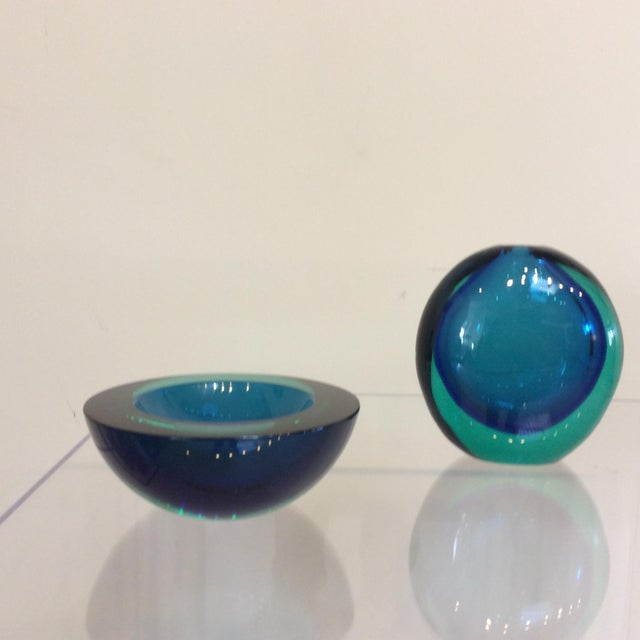 Flavio Poli Murano Glass Sommerso Blue Green Bowl Vase A Pair