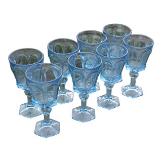 Sky Blue Water Goblets Virginia Fostoria - Set of 8 For Sale