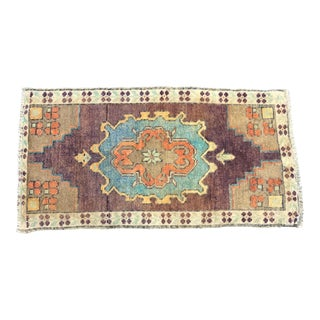 Vintage Distressed Turkish Purple Rug For Sale