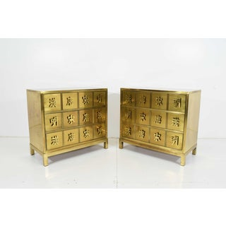 "Mastercraft ""Four Dynasty's"" Brass Veneer Commode Nightstands Chests - a Pair Preview"