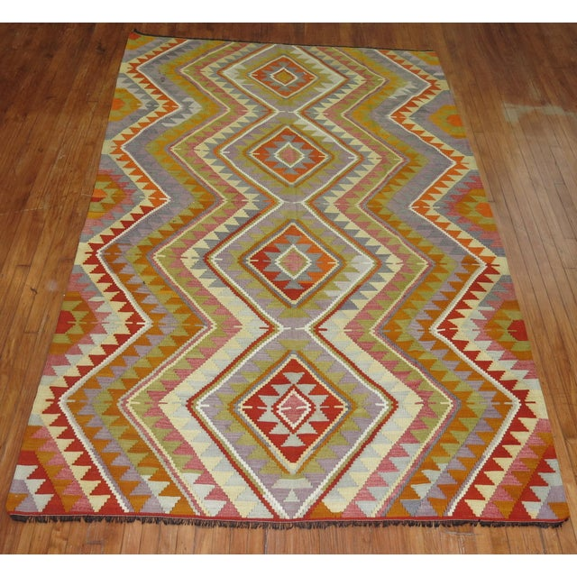 Vintage Turkish Kilim - 6′4″ × 10′5″ - Image 3 of 6