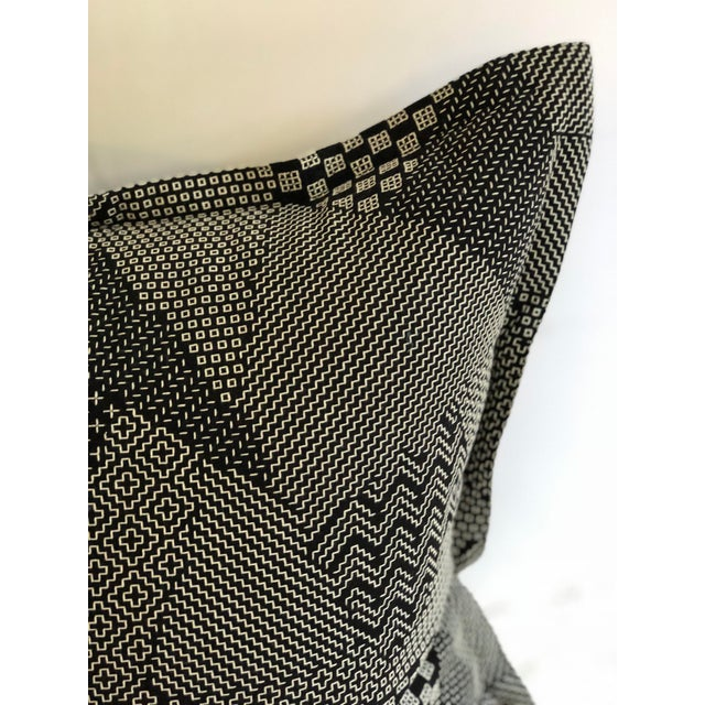 """Pair of 20"""" Square Black and White Stitched Patchwork Pillows by Jim Thompson For Sale - Image 4 of 11"""