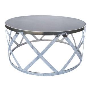 Round Dark Gray & Steel Cocktail Table