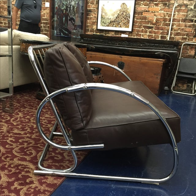 Chrome and Brown Leather Loveseat - Image 4 of 6