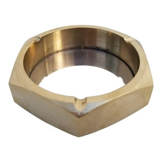 1960s Hollywood Regency Hexagonal Solid Brass Ashtray For Sale