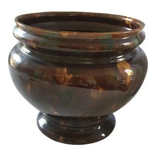 Vintage Mid Century Glazed Pottery Planter For Sale