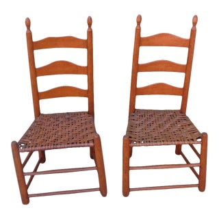 Shaker Style Ladderback Chairs - A Pair For Sale