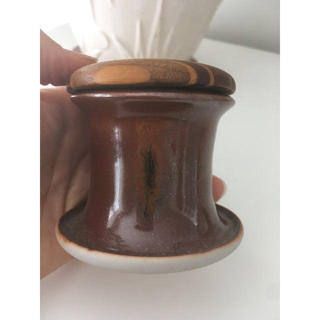 1960s Vintage Mid Century Modern Wood Cork Lid Studio Ceramic Porcelain Pottery For Sale - Image 5 of 9