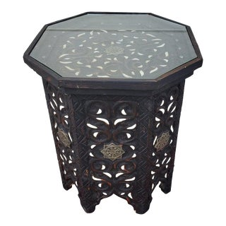 Moroccan Hexagonal Wooden Side Table - 8lm24 For Sale