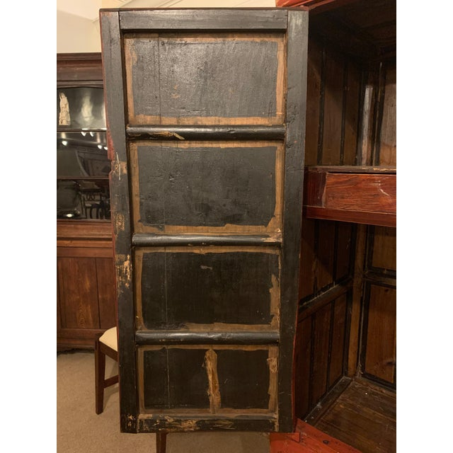 Chinese Painted Red Elmwood Cabinet | Chairish
