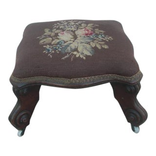 Needlepoint Upholstered Victorian Footstool on Casters For Sale