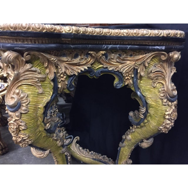 Italian Rococo Style Gilt Console Table For Sale In Los Angeles - Image 6 of 13