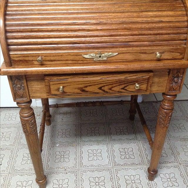 Traditional Eagle Craft Oak Roll Top Secretary Desk For Sale - Image 3 of 11