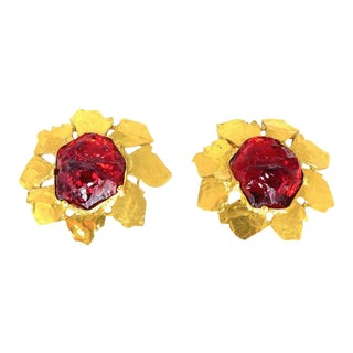 Ysl Gripoix Ruby Poured Glass Gilt Framed Earrings For Sale