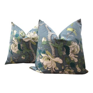"""G.P. And J. Baker """"Tree Peony"""" in Blue and Lime Green of Down Filled 22"""" Pillow Cover - a Pair For Sale"""