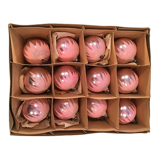 Frosted Pink Balls in Original Box S/12 For Sale