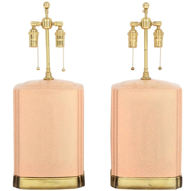 Pink and Brass Crackle Glazed Ceramic Lamps - a Pair For Sale - Image 12 of 12